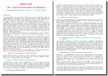 Cassation 1ère Civ. 27 avril 2004 - La pluralité des sujets de l'obligation