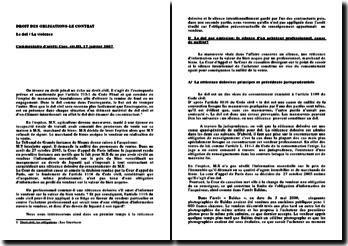 Cassation, 3ème Civ. 17 janvier 2007 - dol par omission et responsabilités de l'acquéreur