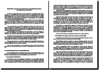Que penser de la summa division responsabilité contractuelle et responsabilité extra-contractuelle ?
