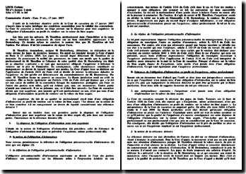 Commentaire d'arrêt : Cass. 3e civ., 17 janv. 2007 - le dol: obligation d'information et réticence dolosive
