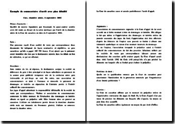 Exemple de commentaire d'arrêt avec plan détaillé: Cass. chambre mixte, 6 septembre 2002