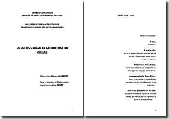La loi nouvelle et le contrat en cours