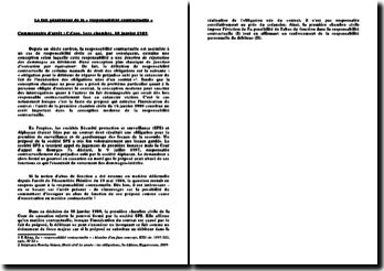 Le fait générateur de la responsabilité contractuelle - Commentaire d'arret, 1e chambre civile, 18 janvier 1989