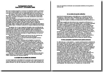 Commentaire d'arrêt : Cass.civ. 2ème, 19 octobre 2006 - la garde commune, rejet et dépérissement