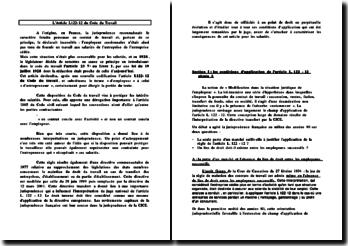 L'Article L122-12 du Code du Travail