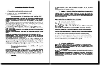 La conclusion du contrat de travail - conditons de formation, règles de forme et de fonds, clauses