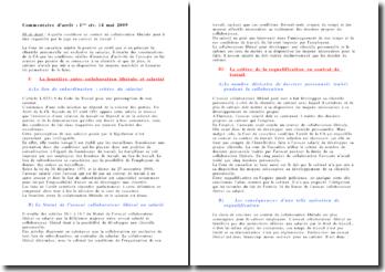 Cassation 1ère Civ. 14 mai 2009 - la requalification du contrat de collaboration libérale en contrat de travail