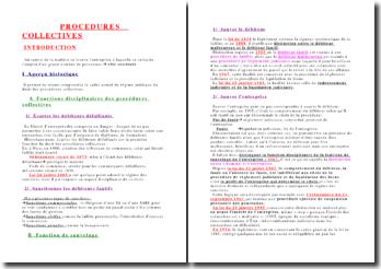 Cours sur les procédures collectives - Historique, finalités, traitement conventionnel