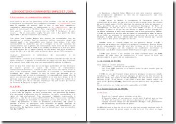 Les sociétés en commandite et l'EURL