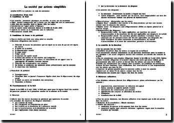 La société par actions simplifiée en 2009