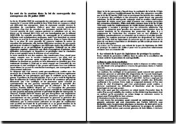Le sort de la caution dans la loi de sauvegarde des entreprises du 26 juillet 2005