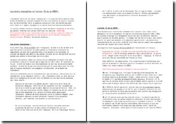 Les droits intangibles et l'article 15 de la CEDH