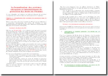 La formalisation des systèmes européens et internationaux de protection des droits de l'homme