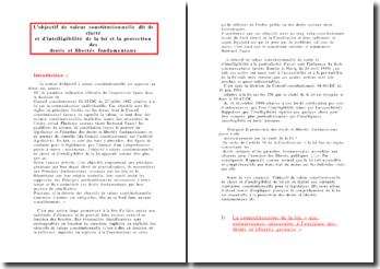 L'objectif de valeur constitutionnelle dit de clarté et d'intelligibilité de la loi et la protection des DLF