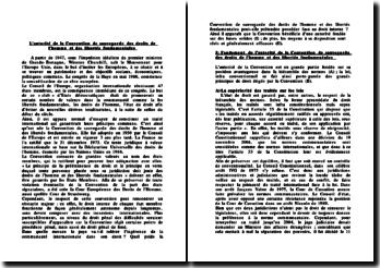 L'autorité de la Convention de sauvegarde des droits de l'homme et des libertés fondamentales