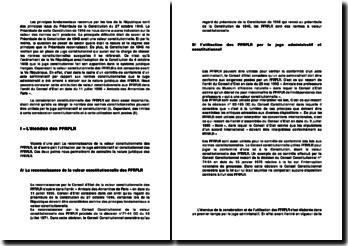 Les principes fondamentaux reconnus par les lois de la République - PFRLR