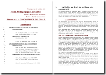 Concurrence déloyale I