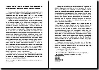 L'article 166 du Code Sénégalais de la famille est-il applicable en cas de procédure d'absence ouverte contre le conj