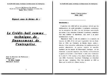 Le Crédit-bail comme technique de financement de l'entreprise - Droit marocain