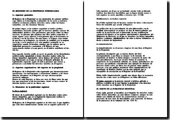 Droit Espagnol - Registro de la propiedad inmobiliaria
