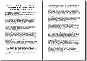 Résumé de l'article « la constitution tunisienne et les traités après la révision du 1 er juin 2002 »