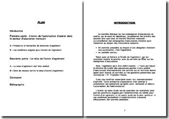 L'agrément des entreprises d'assurance en droit marocain