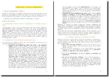 Criminologie et sciences pénitentiaire