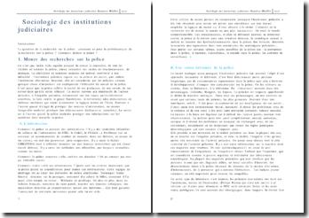 Sociologie des institutions judiciaires : la police