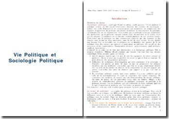 Vie politique et sociologie politique