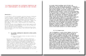 La structuration du système partisan de la Vème République, sa nature et ses causes