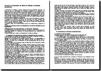 L'extension du droit de suffrage en Europe occidentale