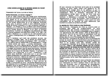 L'Etat comme produit de la division sociale du travail (Emile Durkheim)