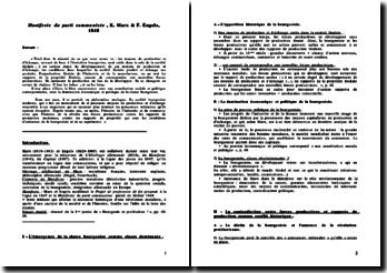 Manifeste du parti communiste, K. Marx & F. Engels, 1848. résumé de la 1ère partie de « Bourgeois et prolétaires !