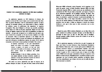 L'article 9 de la constitution japonaise de 1946 dans la politique extérieure du Japon