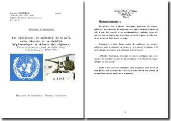 Mémoire de recherche: les opérations de maintien de la paix
