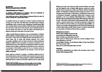 In memoriam - Professeur Joseph Ki-Zerbo: 'Identités/Identité pour l'Afrique'.
