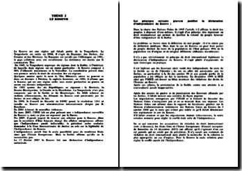 TD de relations internationales sur le Kosovo