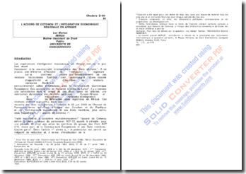 L'accord de Cotonou et l'intégration économique régional en Afrique