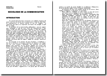 Sociologie de la Communication