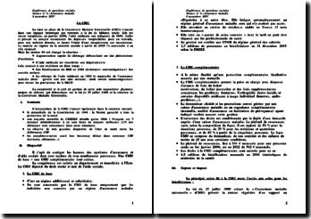 La Couverture Maladie Universelle - CMU - dispositions, enjeux et débats