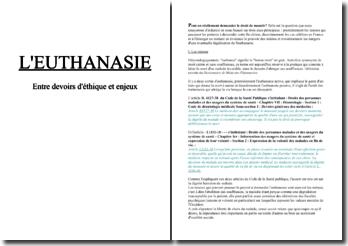 L'euthanasie, entre devoirs d'éthique et enjeux
