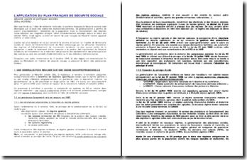 L'application du plan français de sécurité sociale