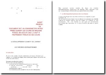 Psychologie du développement - Notion de représentation dans le modèle post-piagétien de Mounoud