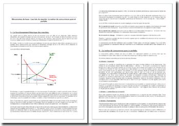 Mécanismes de base : Les lois du marché. La notion de concurrence pure et parfaite