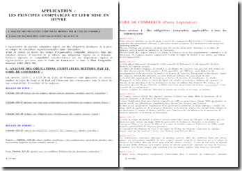 Application des principes comptables