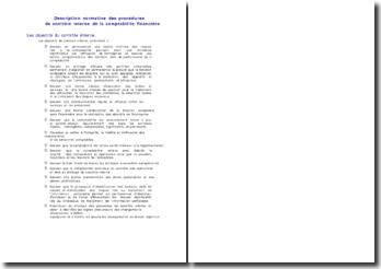 Description normative des procédures de contrôle interne de la comptabilité financière