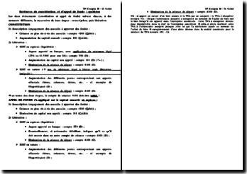 Ecritures de constitution et d'appel de fonds