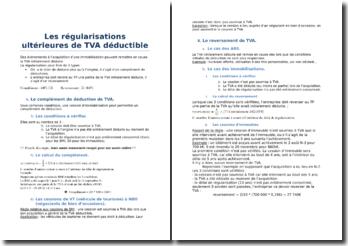 Les régularisations ultérieures de TVA déductible
