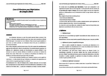 Provisions pour Dépréciations des Comptes Clients