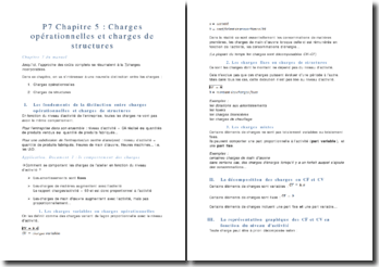 Charges opérationnelles et charges de structures